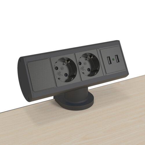 De Duck2 elektrificatie is een opbouwcontactdoos die tegen de bladrand van je bureau worden gemonteerd